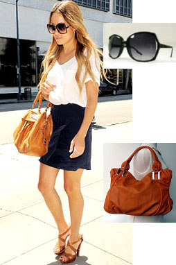 Lauren Conrad's look for less, oversized sunglasses and burnt orange handbag