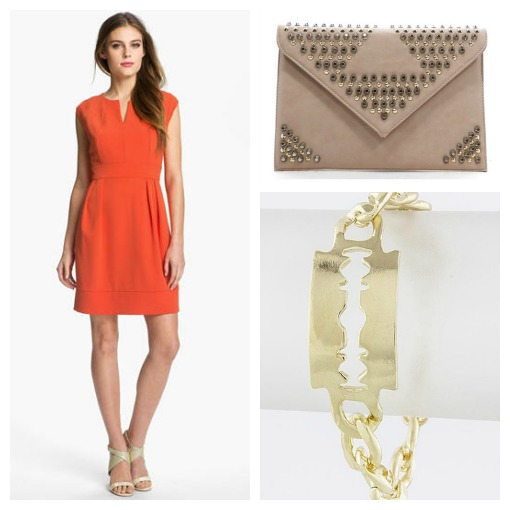 orange dress, neutral clutch