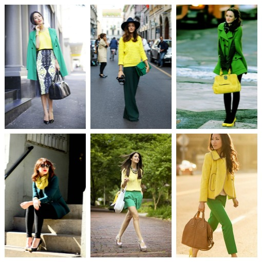 Spring  green and yellow outfits