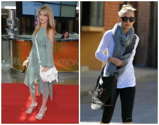 Kim Matula and Nicole Richie wearing crossbody handbags