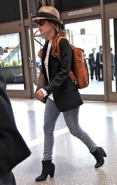 Rachel Bilson wearing a backpack