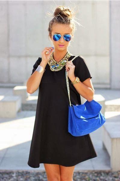 Add a blue handbag for a pop of color!