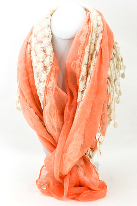 mallie Floral lace and chiffon woven scarf from Shop Suey Boutique