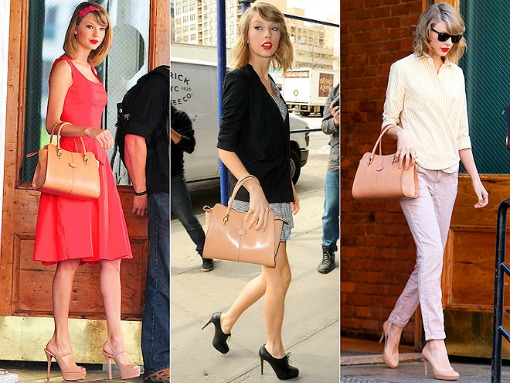 Taylor Swift with favorite Tod's beige top-handle purse