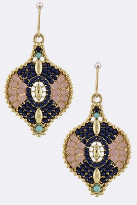 GWYNETH MULTI MINI GEM ENCRUSTED ORNATE DROP EARRINGS  | shopsueyboutique.com