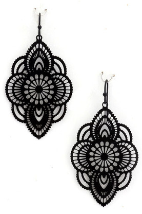 Lauren Metal floral filigree earrings | shopsueyboutique.com