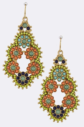 MARLA MINI BEAD ENCRUSTED ORNATE DROP EARRINGS | shopsueyboutique.com