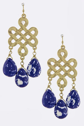 MISSY ORNATE WITH FAUX JEWEL DROP EARRINGS
